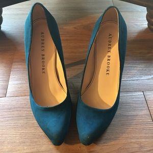 Audrey Brooke teal suede heels